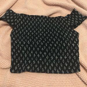 Black off the shoulder crop top - stretchy